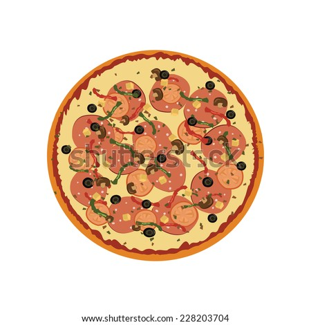 Pizza with pepperoni slices. Vector illustration. - stock vector
