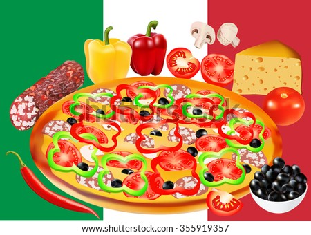 Pizza with salami, peppers, tomatoes, champignon and olives. Vector illustration. Flag of Italy on the background