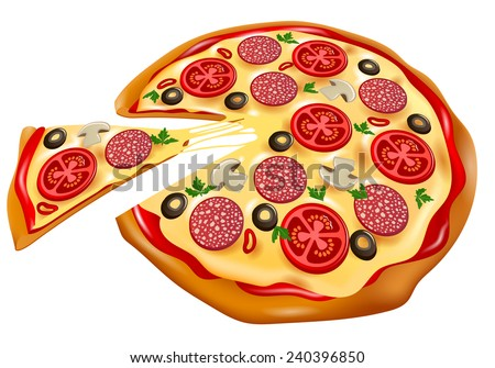 pizza with slice front view - stock vector