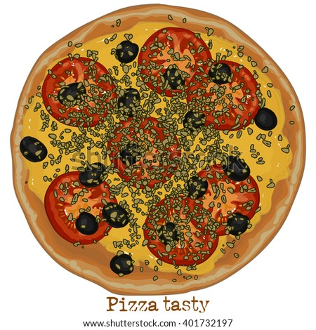 Pizza with tomato, olives and cheese, freehand drawing