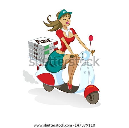 Pizza. Woman. Scooter. Vector illustration isolated on a white background. - stock vector