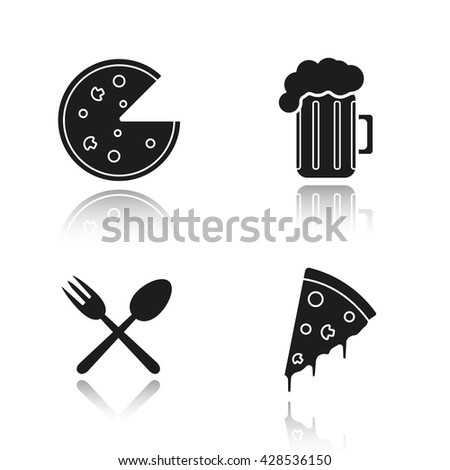 Pizzeria drop shadow black icons set. Pizza slice, foamy beer glass, eatery fork and spoon symbol. Isolated vector illustrations - stock vector