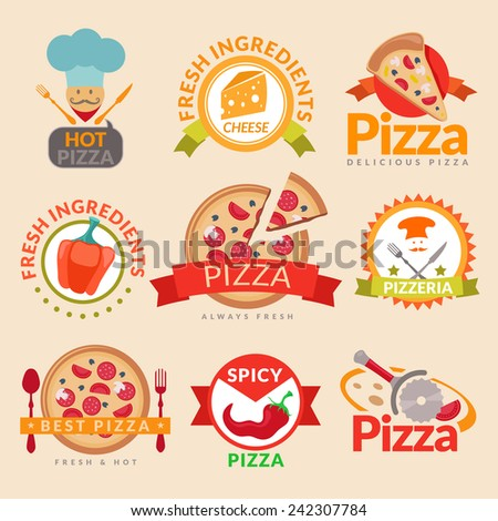 Pizzeria hot pizza fresh ingredients spicy delicious food label set isolated vector illustration - stock vector