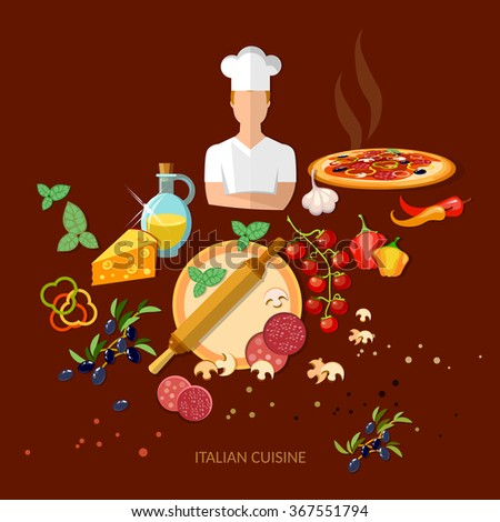 Pizzeria Italian pizza ingredients Italian cuisine vector illustration