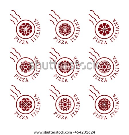 Pizzeria logo templates with text Italian pizza in Italian. Vector emblems for restaurants, cafe, Italian Cuisine or pizza delivery - stock vector