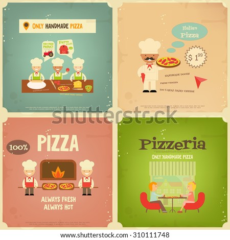 Pizzeria. Meal in Cafe and Pizza Making. Flat Design. Mini Posters Set in Retro Style. Vector Illustration. - stock vector