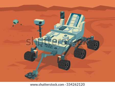 Placard representing space scientists watching broadcast from Mars research rover, and alien watching strange vehicle from a cover behind a rock.  - stock vector