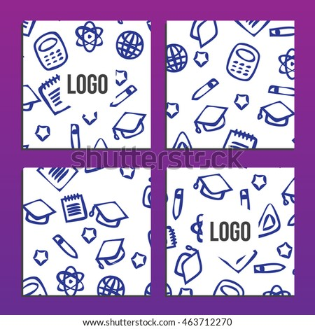 Placards or Posters with back to school pattern. Back to school branding background