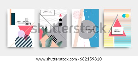 Placards set with abstract shapes with palm leaves, 80s memphis geometric style flat and 3d design elements. Retro art for covers, banners, flyers and posters. Eps10 vector illustrations.
