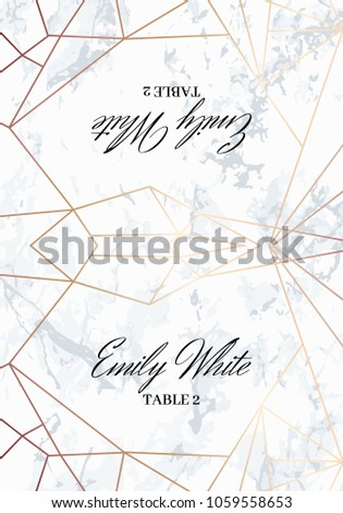 Place Card Template Geometric Design Sides Stock Vector - Place card dimensions