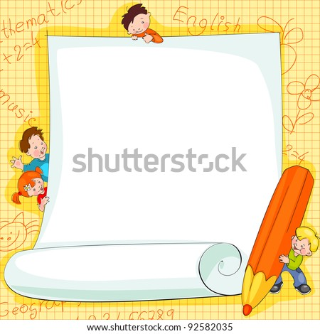 Place for text -  frames on school kids background Vector illustration. - stock vector