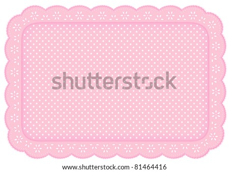 Place Mat, eyelet lace doily. Decorative white polka dots on pastel pink background for home decor, table setting, arts, crafts, scrapbooks, albums, backgrounds. Copy space. EPS8 compatible. - stock vector