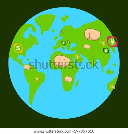 place on the planet, indicate the state of the economy - stock vector