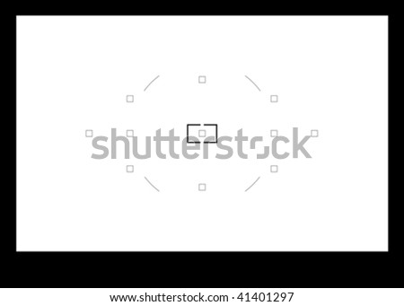 Place or insert your text or picture behind the camera viewfinder, viewfinder with focus points - stock vector