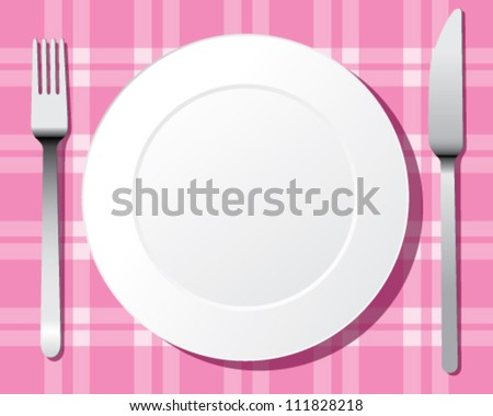 place setting. A white plate with silver fork and knife - stock vector
