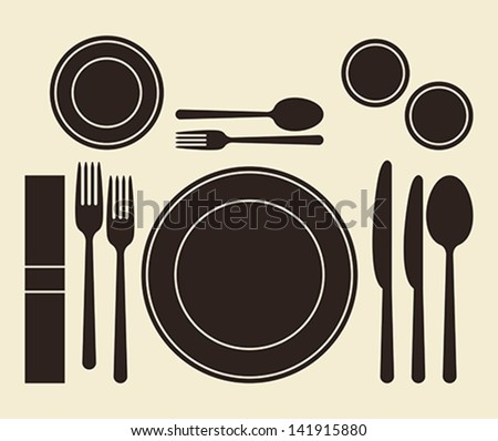 Place setting on light background - stock vector