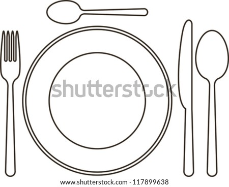 Place setting with plate, knife, spoons and fork - stock vector
