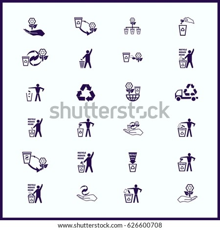 Place trash icons, recycle icons, ecology icons set. Flat Vector illustration