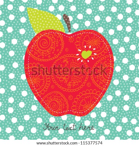 Place your text here. Cute red apple. - stock vector