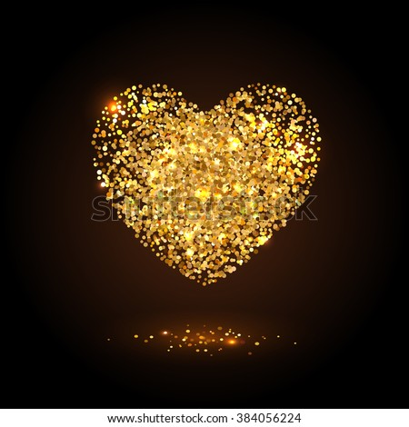 Placer gold bright sparkles glittering confetti a heart shaped on a dark background  for Valentines Day - stock vector