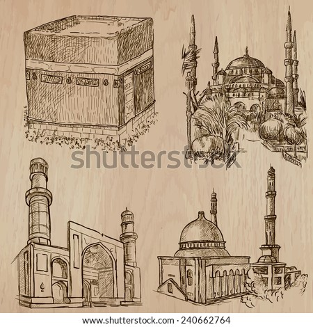 Places and ARCHITECTURE around the World (set no.29 - Islamic World). Hand drawn vectors. Drawing comprise three layers of lines, background is isolated. Editable in layers and groups. - stock vector