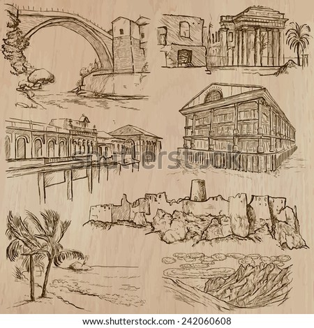 Places, ARCHITECTURE (set no.33). Collection of an hand drawn vector illustrations. Each drawing comprise three layers of lines, the colored background is isolated. Easy editable in layers and groups. - stock vector