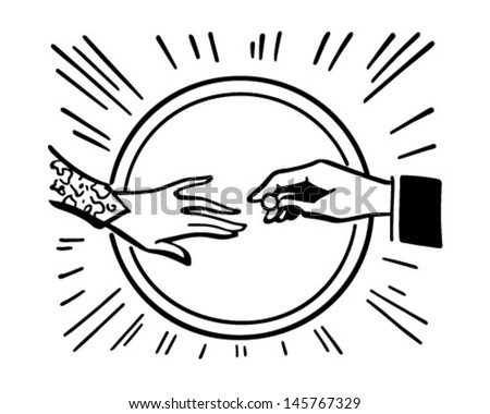 placing wedding ring retro clip art stock vector 145767329 rh shutterstock com free retro clipart images free retro clipart man