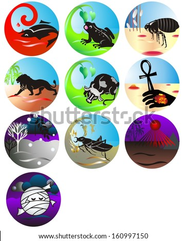 Plagues of Egypt, set of tags - stock vector