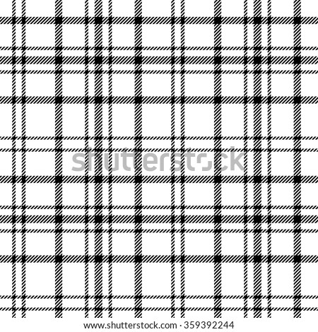 Plaid checkered tartan seamless pattern in black and white colors. Vector - stock vector