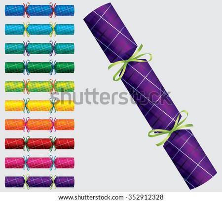 Plaid Christmas cracker set in vector format. - stock vector