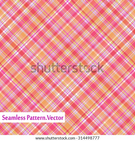 Plaid red orange pattern, checkered seamless background. Vector