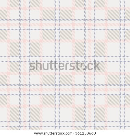 Plaid tartan checkered seamless pattern in pastel shades. Vector - stock vector