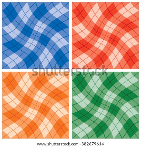 Plaid Twist seamless wavy gingham pattern blue, red, orange and green. Elements are grouped by color. - stock vector