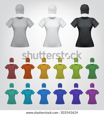 Plain cap and t-shirt for women template - stock vector