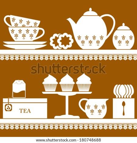 Plain coloured tea set with tea bag, cupcake and cookies - stock vector