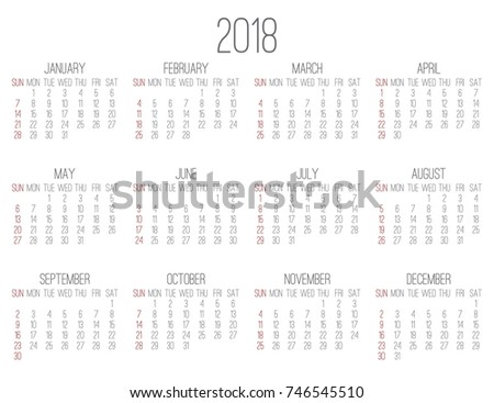 plain contemporary year 2018 vector monthly white calendar week starting from sunday