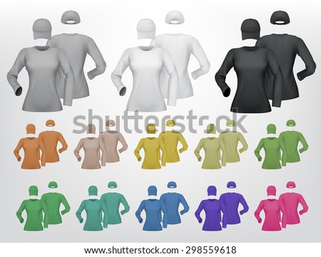 Plain female long sleeve shirt and cap template. Isolated background. - stock vector