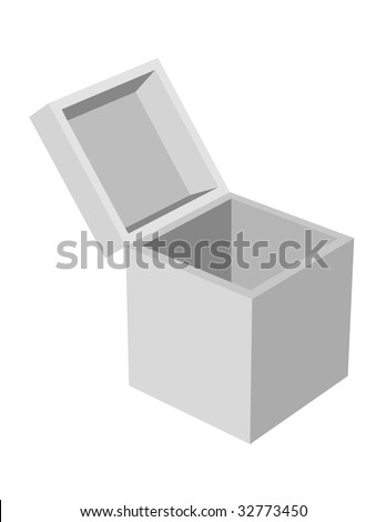 Plain gray box with open lid on white.