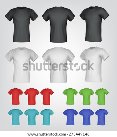 Plain male t-shirt templates. Isolated background. Back, front, side views. - stock vector
