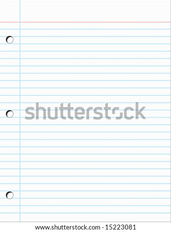 Plain piece of Notebook Paper Vector Illustration