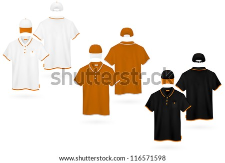 Plain polo shirt template. - stock vector