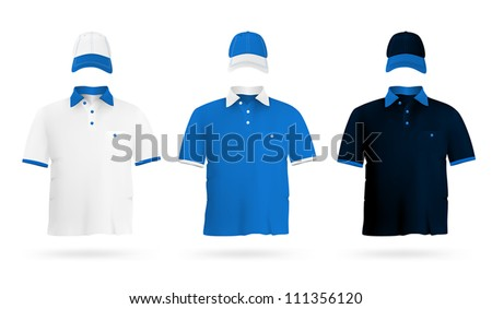 Plain polo t-shirt template. - stock vector