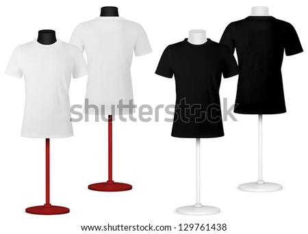Plain t-shirt on mannequin torso template. Front and back views. - stock vector