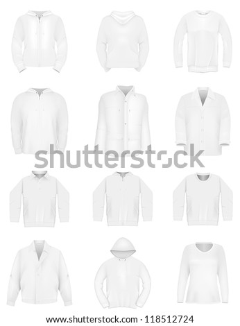 Plain training hooded sweatshirt, long sleeve jacket, shirt template. - stock vector