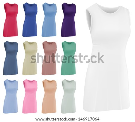 Plain women's netball dress template - stock vector