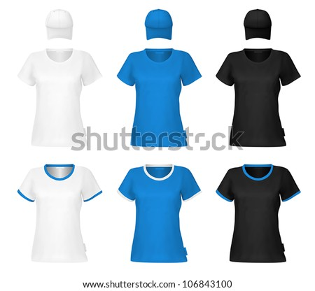 Plain women's t-shirt template. - stock vector
