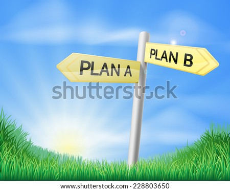 Plan A plan B sign in a sunny green field of lush grass - stock vector