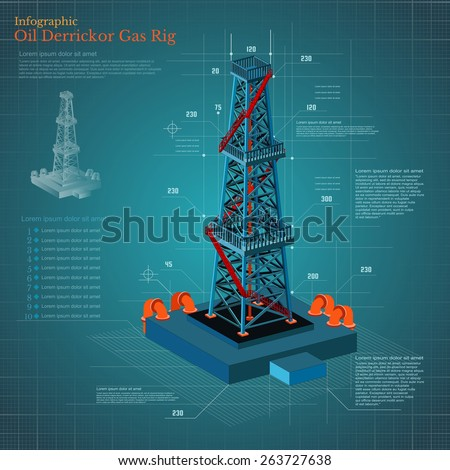 plan drawing oil derrick tower or gas rig info graphic on blue scheme paper - stock vector