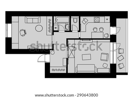 Plan drawing one-bedroom apartment with furniture on a gray background. Vector illustration - stock vector