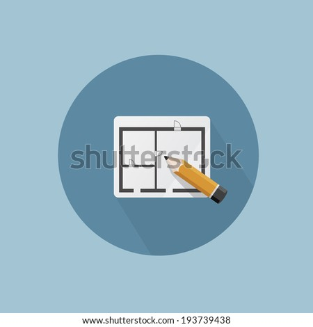 Plan flat icon - stock vector